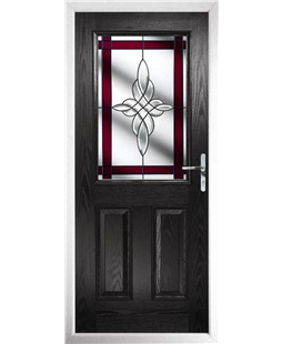 The Farnborough Composite Door in Black with Red Crystal Harmony