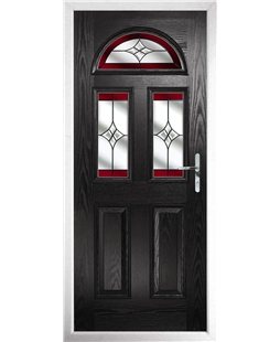 The Glasgow Composite Door in Black with Red Crystal Harmony