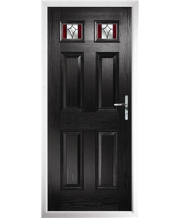 The Ipswich Composite Door in Black with Red Crystal Harmony