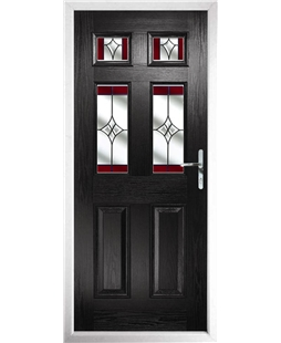 The Oxford Composite Door in Black with Red Crystal Harmony
