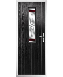 The Sheffield Composite Door in Black with Red Crystal Harmony