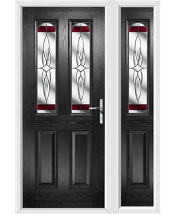 The Aberdeen Composite Door in Black with Red Crystal Harmony and matching Side Panel