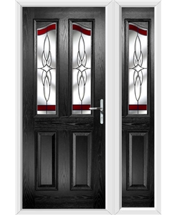 The Birmingham Composite Door in Black with Red Crystal Harmony and matching Side Panel