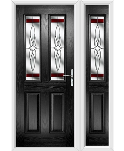 The Cardiff Composite Door in Black with Red Crystal Harmony and matching Side Panel