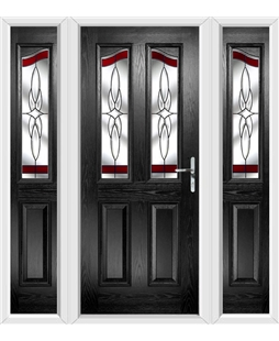 The Birmingham Composite Door in Black with Red Crystal Harmony and matching Side Panels