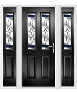 The Cardiff Composite Door in Black with Blue Crystal Harmony and matching Side Panels