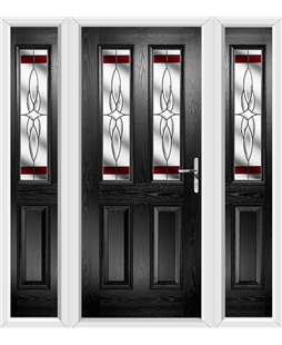 The Cardiff Composite Door in Black with Red Crystal Harmony and matching Side Panels