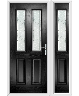 The Cardiff Composite Door in Black with Diamond Cut and matching Side Panel