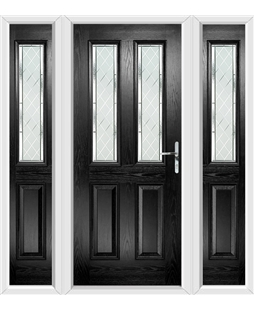 The Cardiff Composite Door in Black with Diamond Cut and matching Side Panels