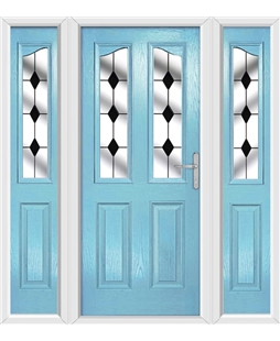 The Birmingham Composite Door in Blue (Duck Egg) with Black Diamonds and matching Side Panels