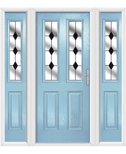The Cardiff Composite Door in Blue (Duck Egg) with Black Diamonds and matching Side Panels