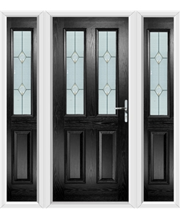 The Cardiff Composite Door in Black with Classic Glazing and matching Side Panels