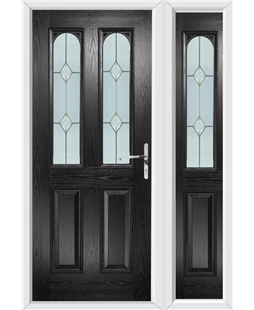 The Aberdeen Composite Door in Black with Classic Glazing and matching Side Panel