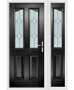 The Birmingham Composite Door in Black with Classic Glazing and matching Side Panel