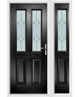 The Cardiff Composite Door in Black with Classic Glazing and matching Side Panel