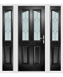The Birmingham Composite Door in Black with Classic Glazing and matching Side Panels
