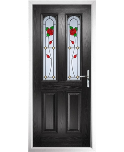 The Aberdeen Composite Door in Black with English Rose