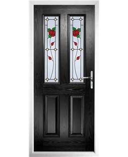 The Cardiff Composite Door in Black with English Rose