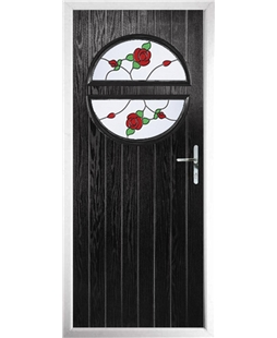 The Queensbury Composite Door in Black with English Rose