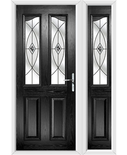 The Birmingham Composite Door in Black with Black Fusion Ellipse and matching Side Panel