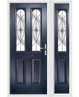 The Aberdeen Composite Door in Blue with Black Fusion Ellipse and matching Side Panel