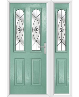 The Aberdeen Composite Door in Green (Chartwell) with Black Fusion Ellipse and matching Side Panel