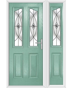 The Birmingham Composite Door in Green (Chartwell) with Black Fusion Ellipse and matching Side Panel
