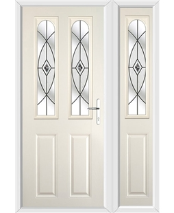 The Aberdeen Composite Door in Cream with Black Fusion Ellipse and matching Side Panel