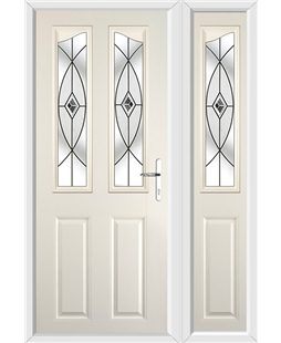The Birmingham Composite Door in Cream with Black Fusion Ellipse and matching Side Panel