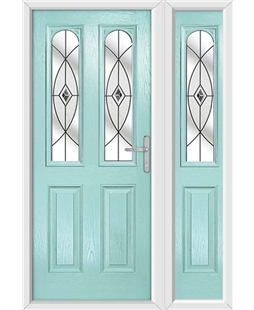 The Aberdeen Composite Door in Blue (Duck Egg) with Black Fusion Ellipse and matching Side Panel