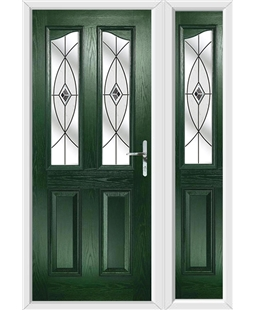 The Birmingham Composite Door in Green with Black Fusion Ellipse and matching Side Panel