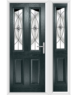 The Birmingham Composite Door in Grey (Anthracite) with Black Fusion Ellipse and matching Side Panel