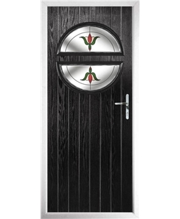 The Queensbury Composite Door in Black with Fleur