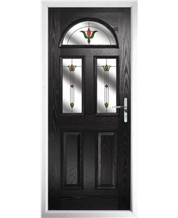 The Glasgow Composite Door in Black with Fleur