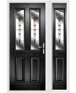 The Birmingham Composite Door in Black with Fleur and matching Side Panel