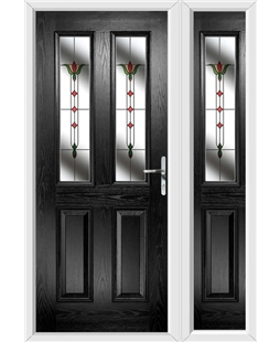 The Cardiff Composite Door in Black with Fleur and matching Side Panel