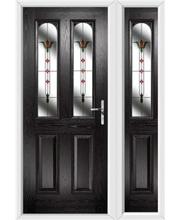 The Aberdeen Composite Door in Black with Fleur and matching Side Panel