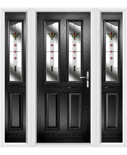 The Birmingham Composite Door in Black with Fleur and matching Side Panels
