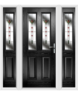 The Cardiff Composite Door in Black with Fleur and matching Side Panels