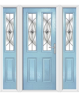 The Cardiff Composite Door in Blue (Duck Egg) with Black Fusion Ellipse and matching Side Panels