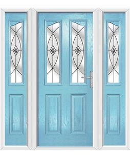 The Birmingham Composite Door in Blue (Duck Egg) with Black Fusion Ellipse and matching Side Panels