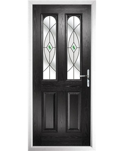 The Aberdeen Composite Door in Black with Green Fusion Ellipse