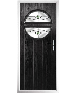 The Queensbury Composite Door in Black with Green Fusion Ellipse