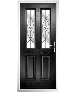 The Cardiff Composite Door in Black with Green Fusion Ellipse