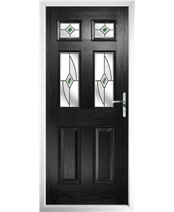 The Oxford Composite Door in Black with Green Fusion Ellipse
