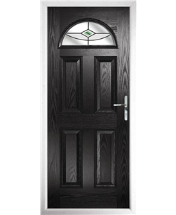 The Derby Composite Door in Black with Green Fusion Ellipse