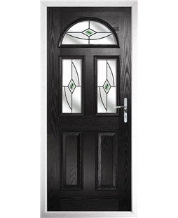 The Glasgow Composite Door in Black with Green Fusion Ellipse