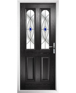 The Aberdeen Composite Door in Black with Blue Fusion Ellipse