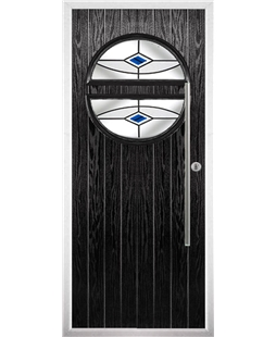 The Xenia Composite Door in Black with Blue Fusion Ellipse