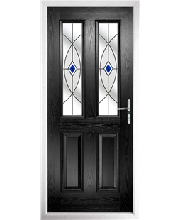The Cardiff Composite Door in Black with Blue Fusion Ellipse
